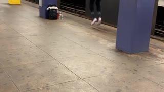 Shirtless guy black pants running in place