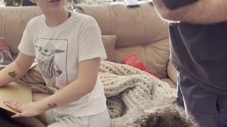 Girl Surprised by Holiday Puppy Present