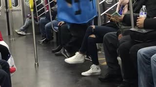 Man blue square jewish writing costume spinning
