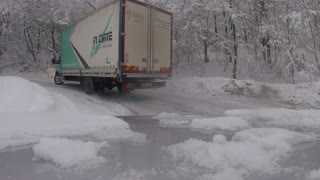 Semi Truck Drifting on Winter Roads