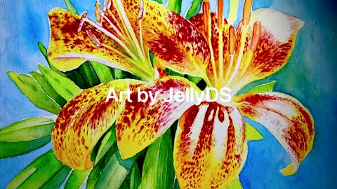 Painting Tiger Lily Flowers in watercolor.