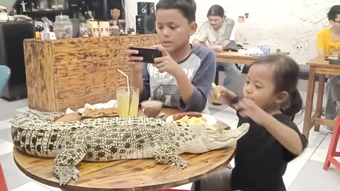 A little girl has dinner with her friend and a crocodile
