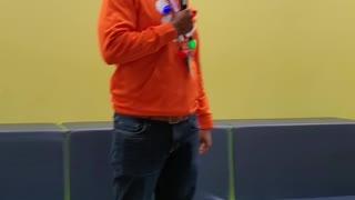 Singing teacher at Christmas time.