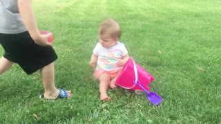 Funny baby Playing with water-Baby outdoor video