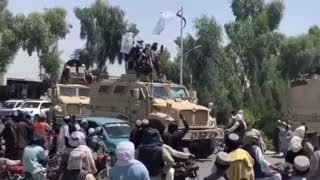 Taliban in US Uniforms Throw Military Victory Parade Riding in US Military Equipment with US Guns