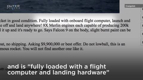 A 'Gently Used' SpaceX Rocket Is For Sale On The Craigslist