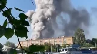 Explosion at a fireworks warehouse in Moscow.