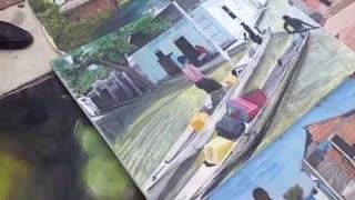 Andrés Hernández vende pinturas en medio de la pandemia