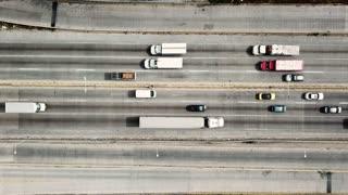 Highway traffic seen through drone