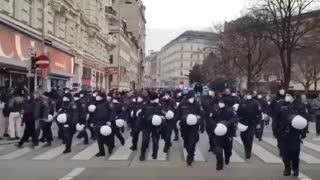 La Policía en Austria se une a los manifestantes