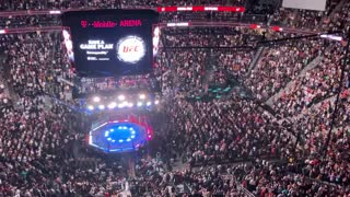UFC Crowd cheers when Donald J Trump arrives .
