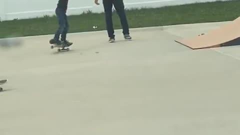 Kind Dude Teaches Kid To Skate Down Ramp