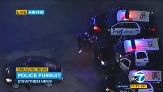 Massive Nighttime Police Pursuit In Los Angeles