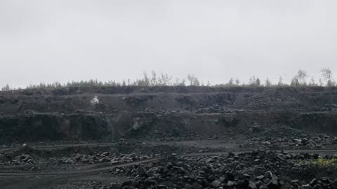A powerful explosion of vein TNT in a quarry