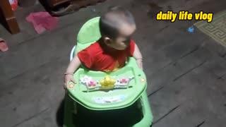 baby boy rides a walker   daily life vlog