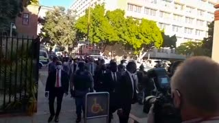 Police Minister Bheki Cele arrives at the Cape Town Magistrate Court