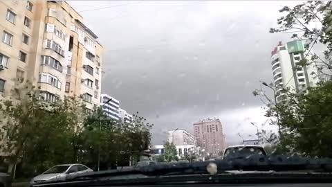 Urban rainy bustle