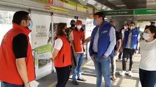 Alcalde de Bucaramanga verificó los protocolos de bioseguridad en estaciones de Metrolínea