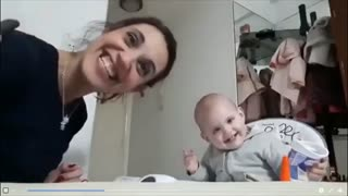 Italian Baby and Mother. Laughing, Imitating.