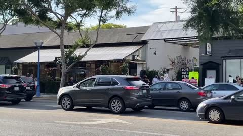 There's yet another anti mask demonstration outside Harlowe restaurant in West Hollywood