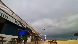 Handstand on Beach Balcony