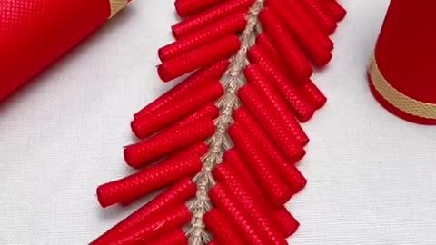 New year firecracker handicraft, new year parent-child handicraft