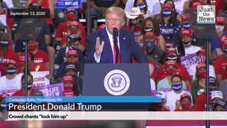 "Crowd chants ""lock him up"" and Trump Campaign Rally"
