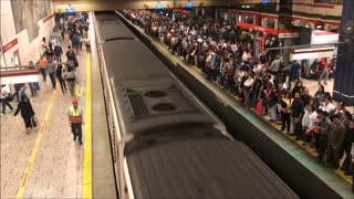 Early morning rush hour at Metro Los heroes in Chile