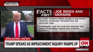 Trump tells White House reporters China should open an investigate into Biden