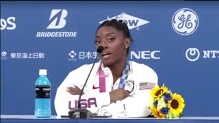 Simone Biles speaks after withdrawing from team gymnastics final