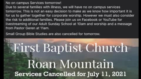 Services Cancelled - July 11, 2021