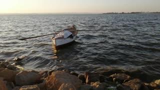 Fishing boat in Lake Qaroun