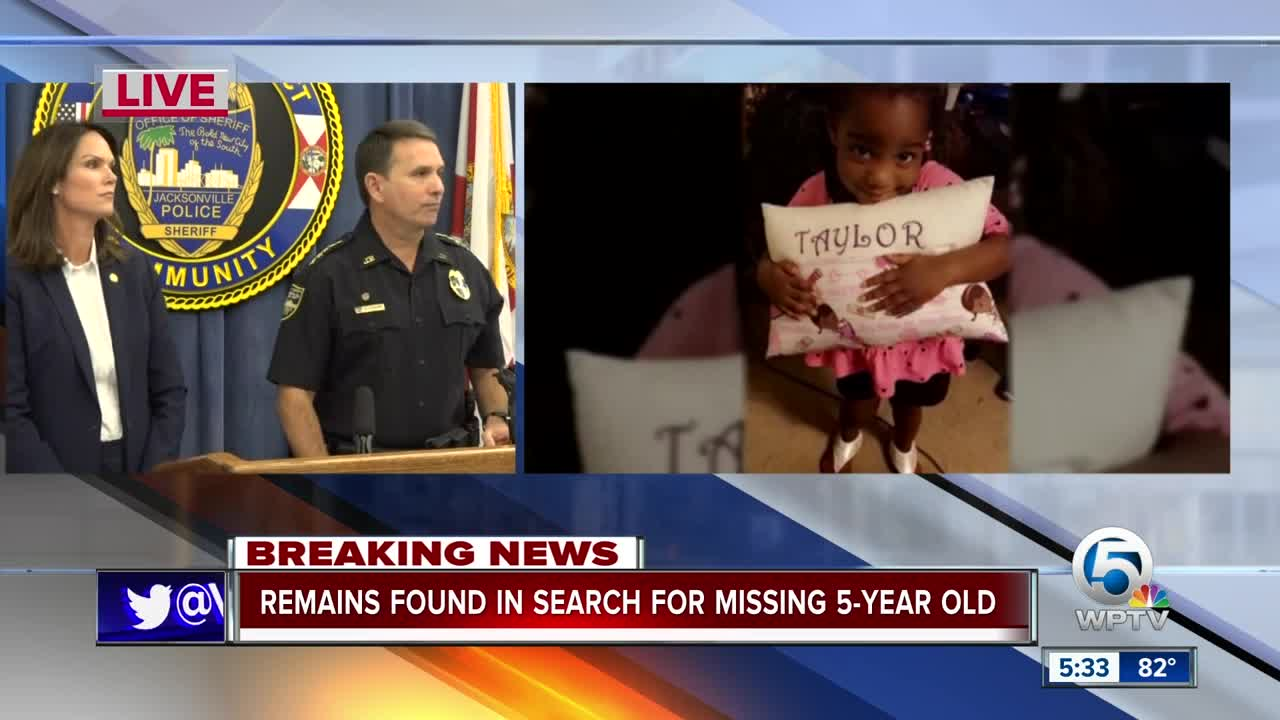 Human remains found in search for missing 5-year-old Florida girl, Taylor Williams; mother arrested