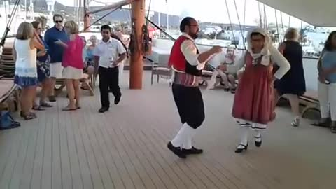 Dancing on the ship in Greece
