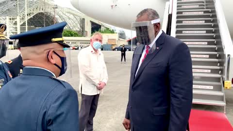COVID Theater at it's Finest Defense Secretary Arrives to Philippines in Mask AND Face Shield