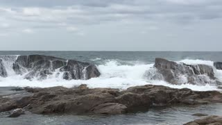 Sea waves during a storm warning