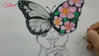 beautiful drawing of a woman with a butterfly on her face
