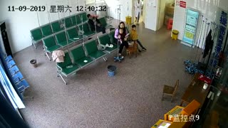 Mum And Kids Dodge Car Crashing In Hospital Waiting Room