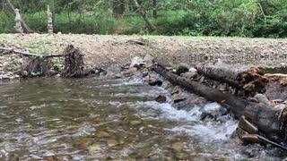 Trickling stream down rocky creek bed