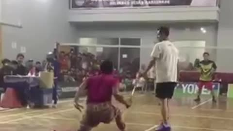 Playing badminton with flashing shoes
