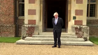 Germany's Merkel arrives for talks with UK's Johnson