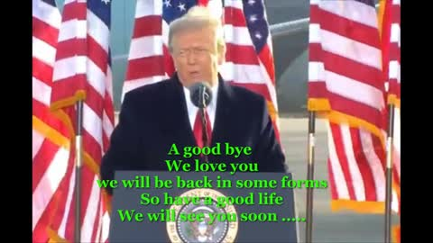 Trump says 'we will be back' in farewell address