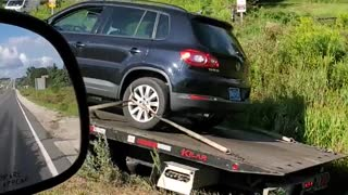 Tow Truck Stuck After Driving Into Ditch