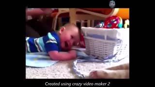 baby plays with cat