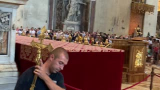 Gold Cross from St. Peter's Basilica - Security Guard takes cross away after arrest