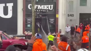 Australian construction workers staged a demonstration today.