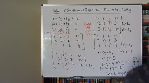 Math 3 Simultaneous Equations 02 Using Augmented Matrices