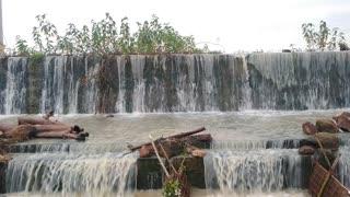 beautiful water falls at rainy time