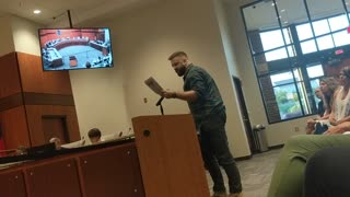 Zachary Diodati speaking out against his School Board