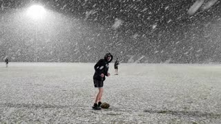 Rare Heavy Snowfall During Rugby Practice in Australia